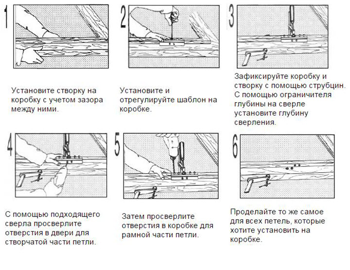 Пошаговая установка дверных петель 1