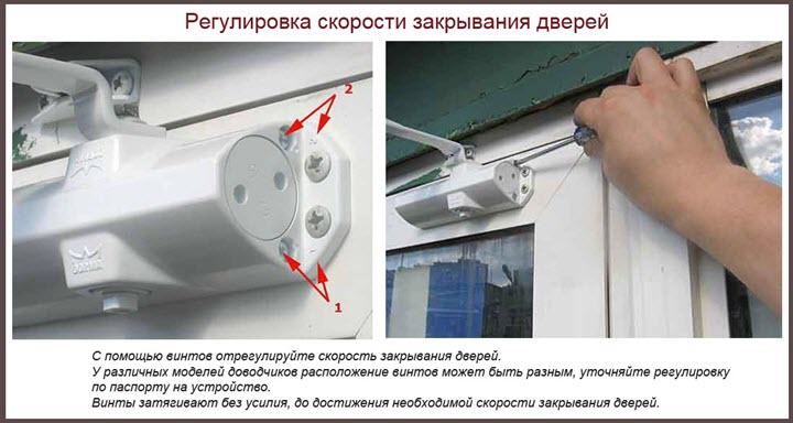 Настройка доводчика двери