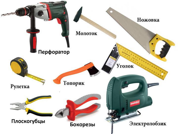 Инструменты, необходимые для работы с гипсокартоном